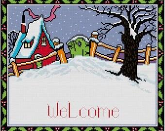 Winter Welcome cross stitch pattern PDF Snow Art Deco