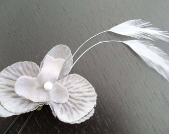 Orchid flower bun stick grey stem white feather bridal hair ceremony