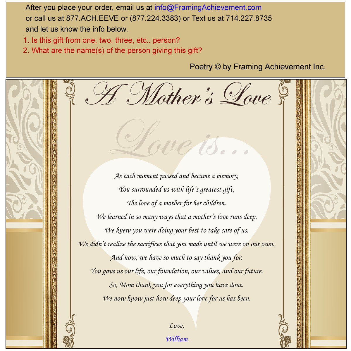 Unique Mom Gifts Birthday Wedding Mother\'s Day Present Poetry ...