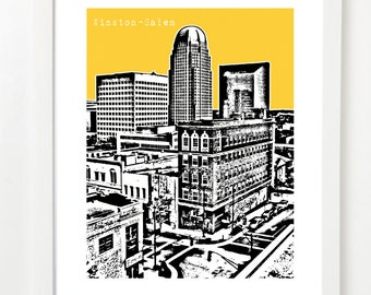 Winston Salem, North Carolina Art Poster - Winston-Salem Skyline Print - Winston Salem City Art