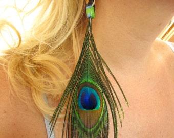 STILL FORBIDDEN, Peacock Feather Earrings with Handmade Artisan Clay Bead (Custom colors available)