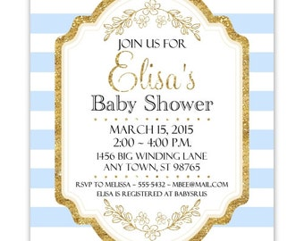 Blue and Gold Baby Shower Invitation, Blue Stripes, Gold Accent Baby Shower Invite, CUSTOM 4x6 or 5x7 size, YOU Print