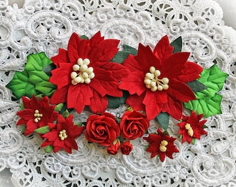 Reneabouquets Christmas Flower Set -Red Poinsettias , Mini Roses And Holly Leaves  Mulberry Paper Flowers - 14 Pieces In Organza Storage Bag