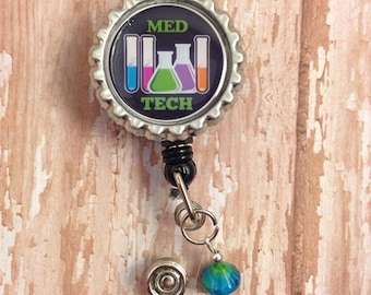 Retractable Badge Reel for Medical Technologist or Med Tech Laboratory Lab Week Gift idea