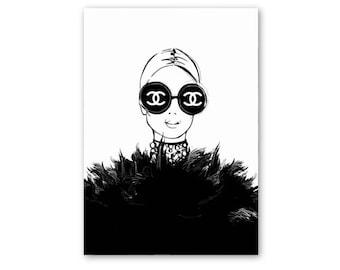 ART PRINT Chanel, Chanel poster, Chanel print, Chanel illustration, fashion wall art, fashion illustration, fashion prints, fashion art