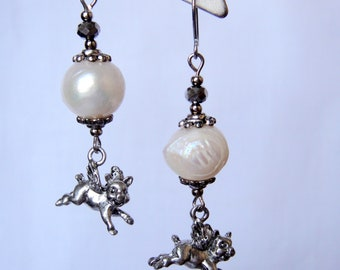 Flying pigs and pearl earrings for women. Funny gift for her