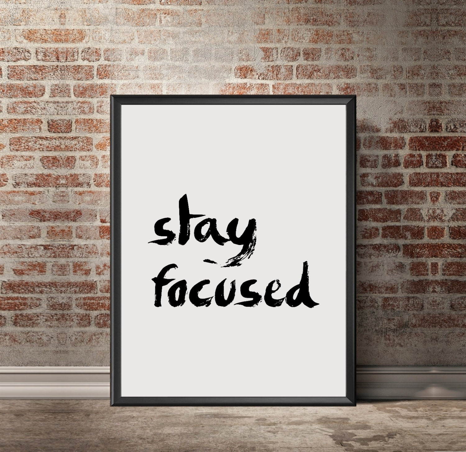 zoom Typography quotes Stay focused Motivational poster