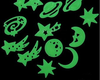 Glow in the Dark Stars Universe Set - Includes shooting stars, moons, planets - 12 Piece Glow Kit