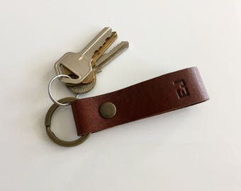 Personalised initial Keyring 05 / Free personalisation/ Custom Key Fob/ Personalized Leather Keyring/ 3rd Anniversary gift