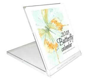 2018 Desk Calendar of bold artistic watercolor Butterflies.