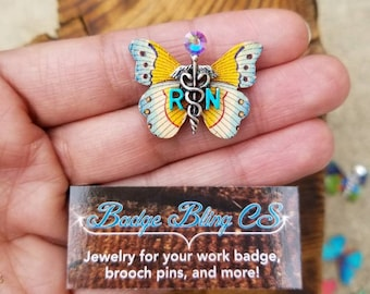Nursing pin for pinning ceremony pins. Nursing Graduation gifts! Customize pins. Butterfly, nature Nurse lapel pins. Fancy unique boho