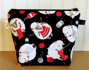 Project Bag, Gift for Knitter, Sock Project Bag, Knitting Project Bag, Knitting Pouch, Zippered Project Pouch, Sheep Project Bag