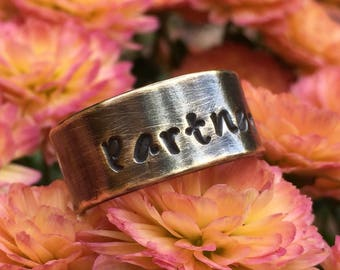 Custom Stamped Gold Brass Wedding Band - Unisex 9mm Personalized Name , Coordinates or Message Ring - 21st Anniversary Jewelry Gift