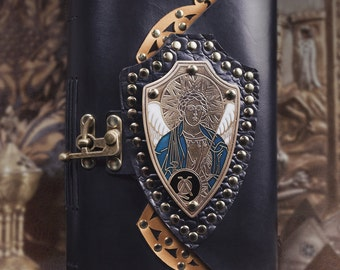 Journal, leather journal, Archangel, angel journal, Archangel Michael, icon journal, leather book, iconography, religious journal, spiritual