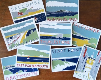SOUTH DEVON POSTCARDS - Mixed pack of 5