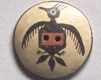 Large Old Zia Pueblo Pottery Button With Thunderbird Design