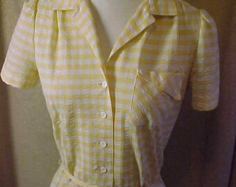 Vintage 50s Yellow and White check Dress, Shirtwaist type, Button down front #3154
