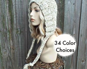 Chunky Knit Hat Womens Oatmeal Hat Oatmeal Hood Oatmeal Ear Flap Hat - Oatmeal Knit Hat - Womens Accessories - 34 Color Choices