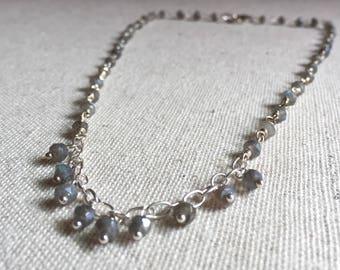 Labradorite gemstone silver choker necklace