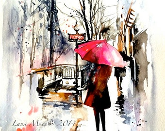 Paris Travel Red Umbrella Watercolor Illustration - Parisian Girl - Lana Moes' Art - Wanderlust Paris - Romantic Parisian Decor - Paris Art