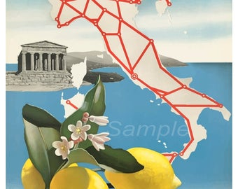 Vintage Italy Know the Land Travel Poster Print