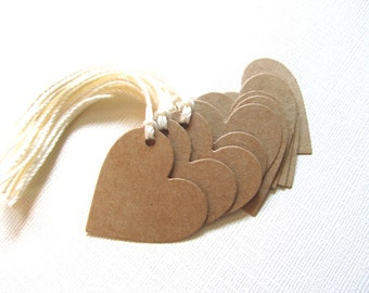 10 Kraft Heart Gift Tags, Price Tags, Party Favor Tags, Prestrung, Rustic, Weddings, Showers, Valentine's Day
