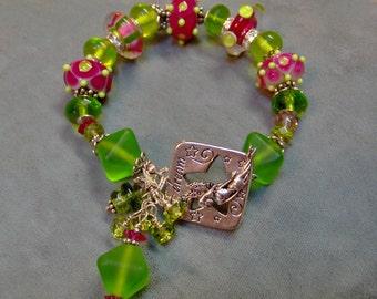 Glass Lampwork and Sterling Silver Bracelet-Artisan Bracelet-Artisan Art Beads-Beaded Bracelet-Statement Bracelet -SRAJD