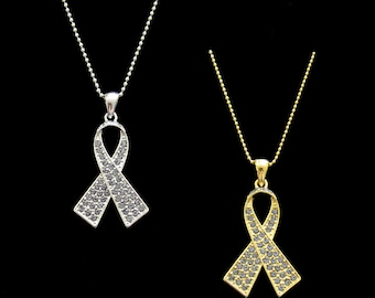 Crystal Gray Grey Ribbon Bow Brain Cancer Tumor Diabetes Asthma Awareness Pendant Charm Necklace Silver Tone Gold Tone