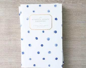 Humbled Hearts Daybook - Gold foil - Prayer Journal - blue dot