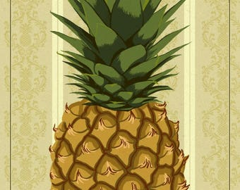 Newport, Rhode Island - Colonial Pineapple - Lantern Press Artwork (Art Print - Multiple Sizes Available)