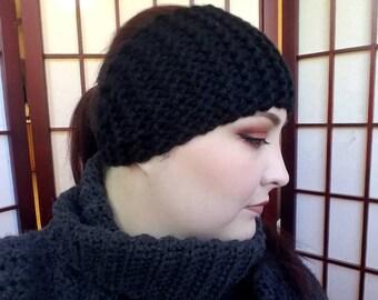 Garter Stitch Headband - Black
