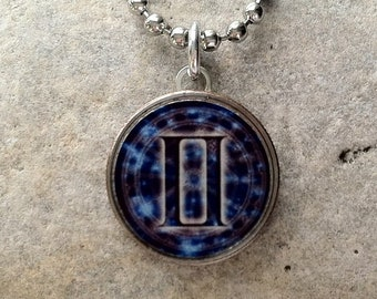 Astrology Sign Gemini Dime Pendant Charm Necklace Stainless Steel Chain May 21-June 20 Birthday