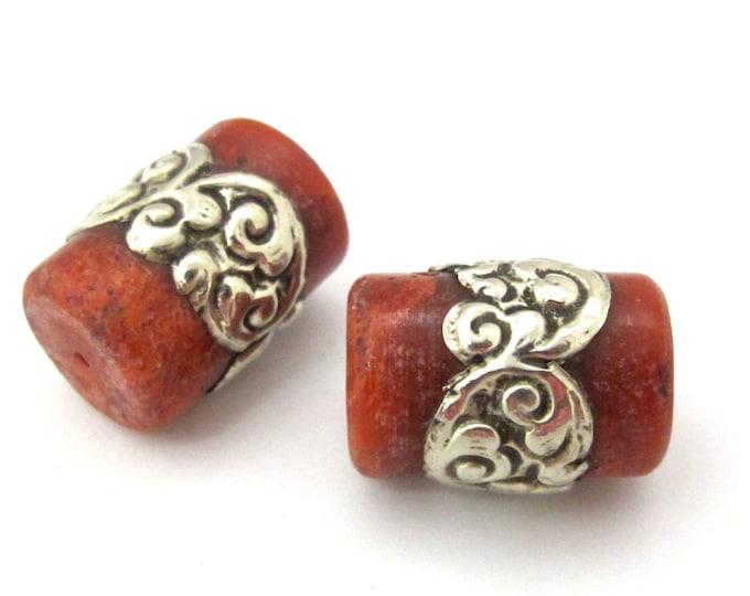 1 BEAD - Tibetan coral bead encased in tibetan silver band -  BD913
