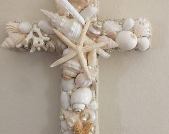 Cottage Home Beach Decor Seashell Cross Shell Cross Romantic Decor Beach Cross Crosses Home Decor