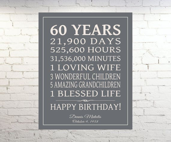 40th 50th 60th Birthday Gifts For Husband Dad Grandad: 60th BIRTHDAY GIFT Sign Dad Birthday Gift Mom Birthday Print