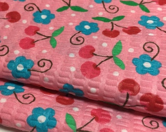 Pink Cherry Ribbed Cotton Fabric