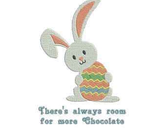 Easter Bunny Embroidery Design (3 Sizes / Multiple formats) There's always room for more Chocolate -  Motif Peeker egg pes, jef, hus