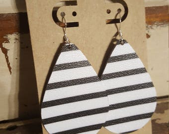 Leather Earrings, Leather Jewelry, Black, White, Stripe, Matte, Statement Earrings, 100% Leather, Tear Drop, Lightweight