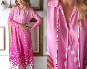 Vintage 60s Pink Floral Print Ombre Dressing Gown - Free Ship