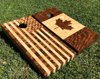CUSTOM Cornhole boards **almost any flag** Canada, America, and more - birthdays, weddings, anniversaries
