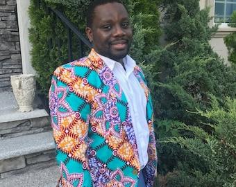 Ready to Ship Ankara Blazer For Men's, African Print Blazer, Blazer/Jacket, African Men Suit/Blazer, African fashion, Men