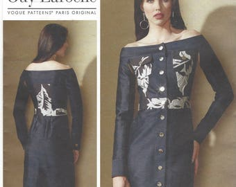 Guy Laroche Womens Off the Shoulder Button Front Dress with Pockets Vogue Sewing Pattern V1559 Size 14 16 18 20 22 Bust 36 to 44 FF