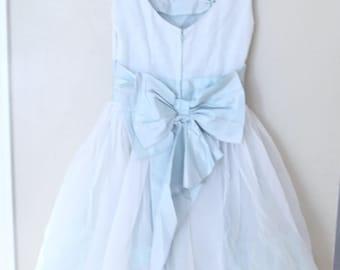 vintage powder blue tulle applique taffeta bow tie layered prom dress