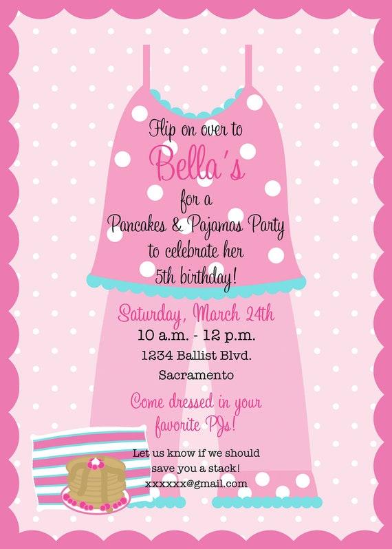 pancakes and pajamas birthday party invitation printable