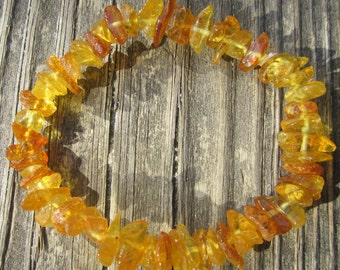 """Baltic Amber Calming Nugget Stretch Bracelet Teen/Adult Size Gorgeous -- """"The Sunrise"""" FREE SHIPPING"""