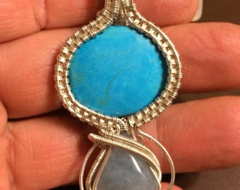 Sterling silver wire wrapped pendant - Turquoise for power, luck, protection