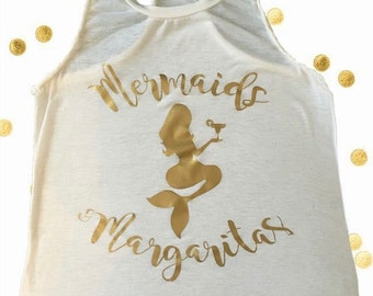 Mermaids & Margaritas Tank, Mermaid Tank Top, Beach Tank Tops, Racer Back Tank Top,