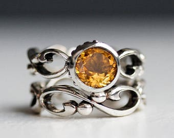 Citrine engagement ring set, infinity ring set, recycled sterling silver, November birthstone ring, anniversary ring set, Wrought, custom