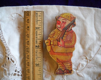 Home Made Vintage Wooden Soldier Broach Very Sweet 1930-1940?