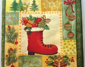 20 napkins in boot Christmas DRESSED REF. 76